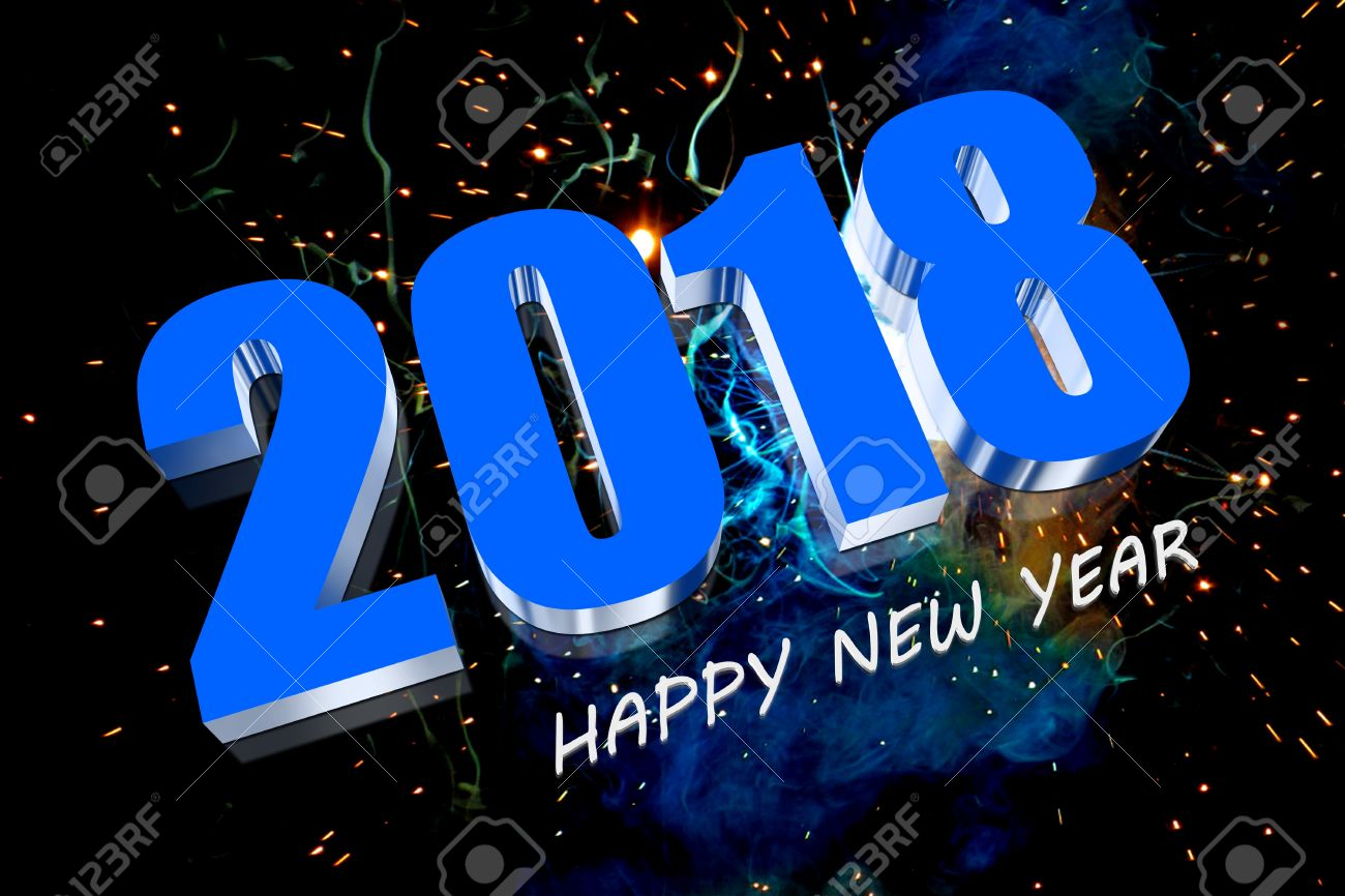 3D Happy New Year 2018 Stock Photo   18048519
