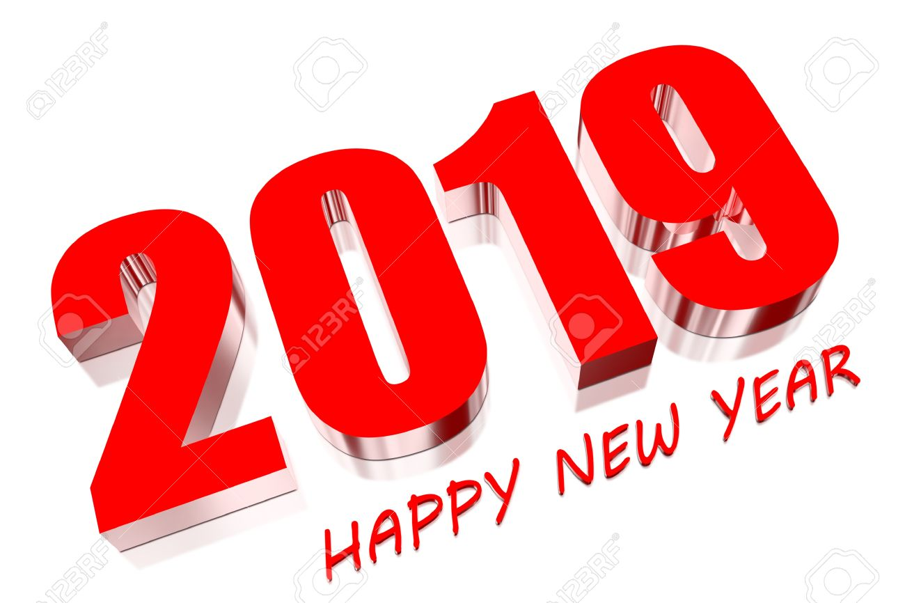 3D Happy new year 2019 Stock Photo - 18048504