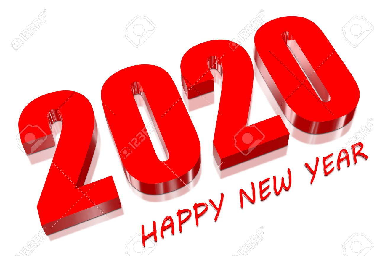 3D Happy new year 2020 Stock Photo - 18048530