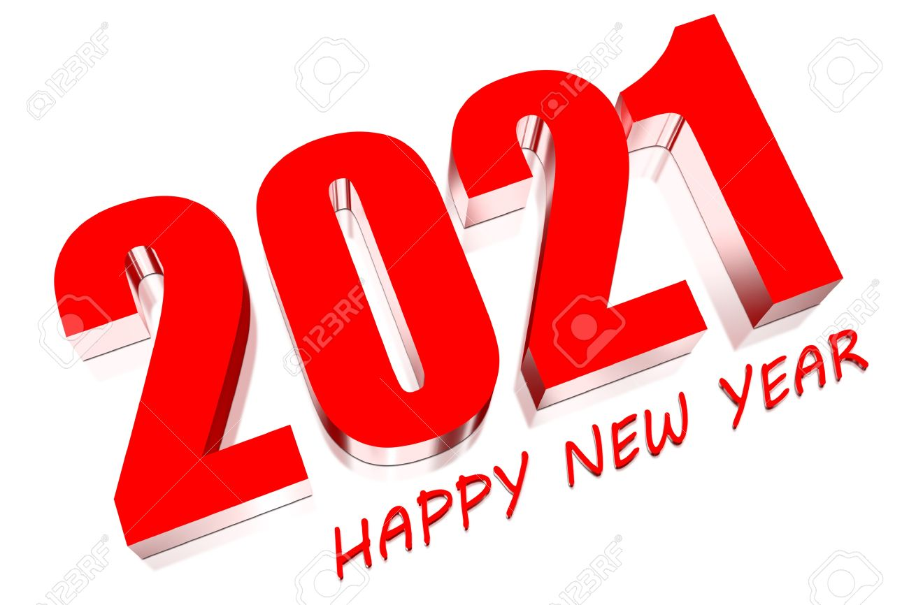 3D Happy new year 2021 Stock Photo - 18334756