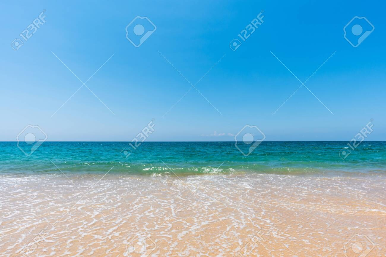 soft sea wave on sand beach and scenic natural seascape background - 122720220