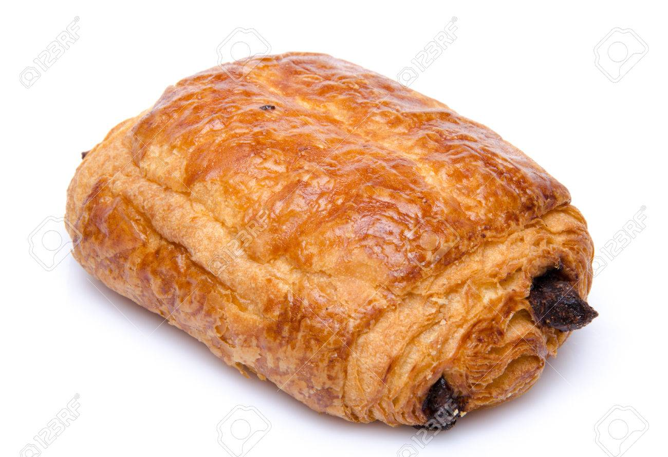 A Fresh Chocolate Croissant, Isolated On White Stock Photo ...