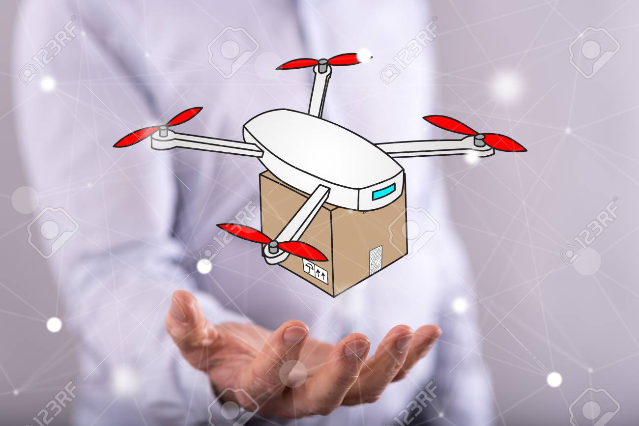 Drone delivery concept above the hand of a man in background