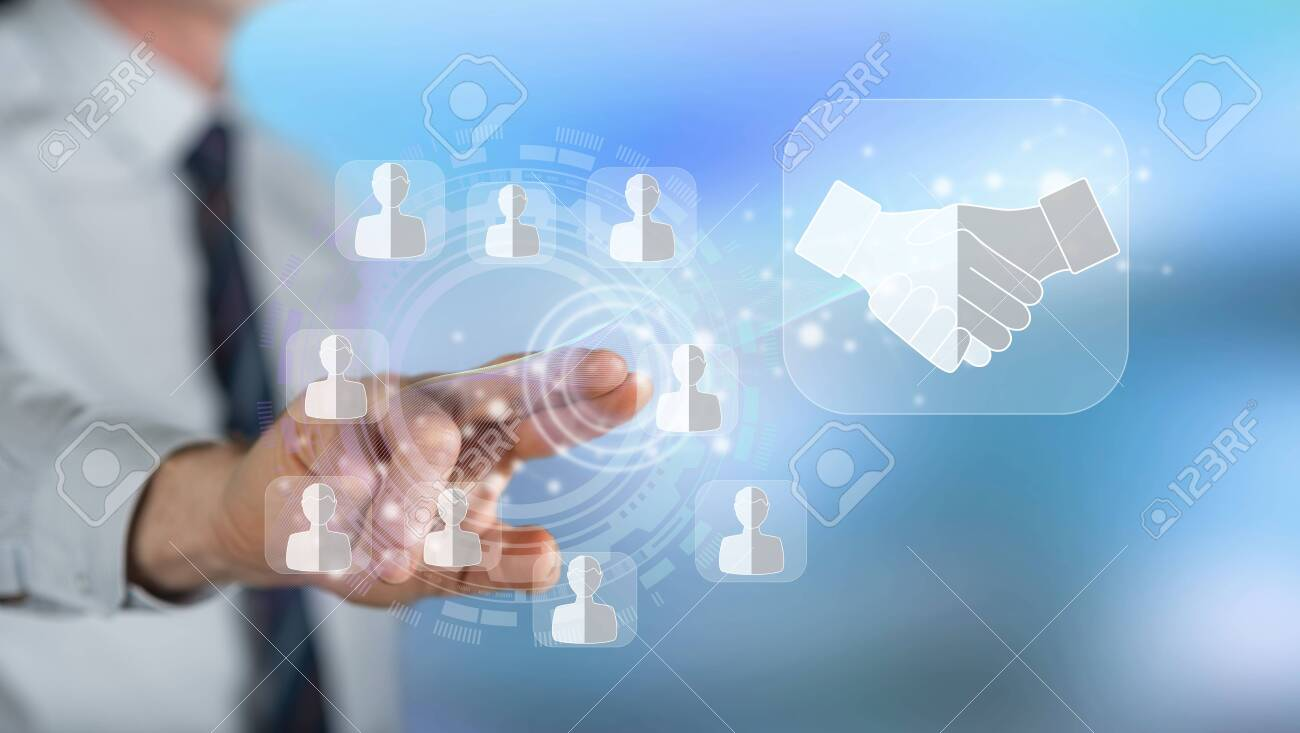 Man touching a business partner concept on a touch screen with his finger - 125704462