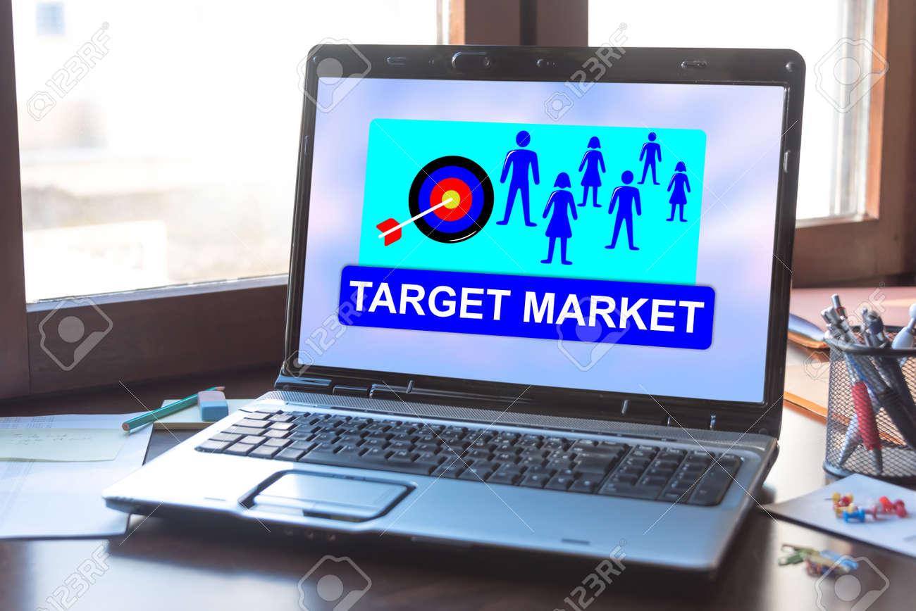 Laptop screen displaying a target market concept - 156746217