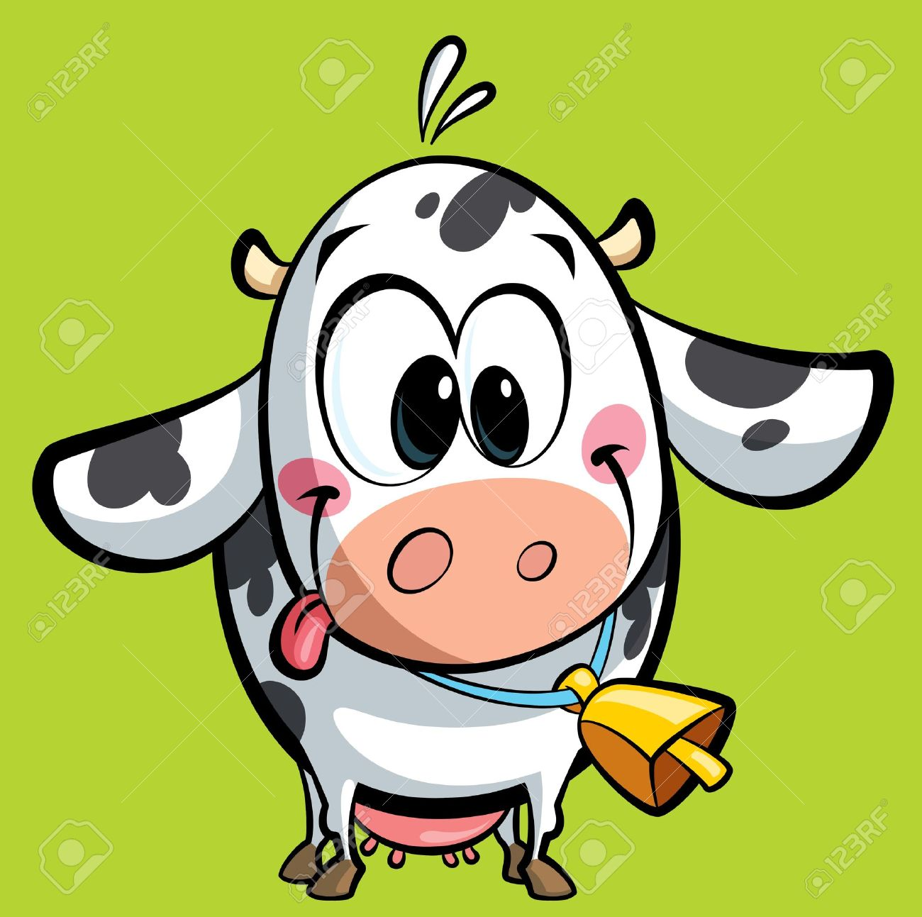 cartoon baby cow with a big cowbell having its tongue out of