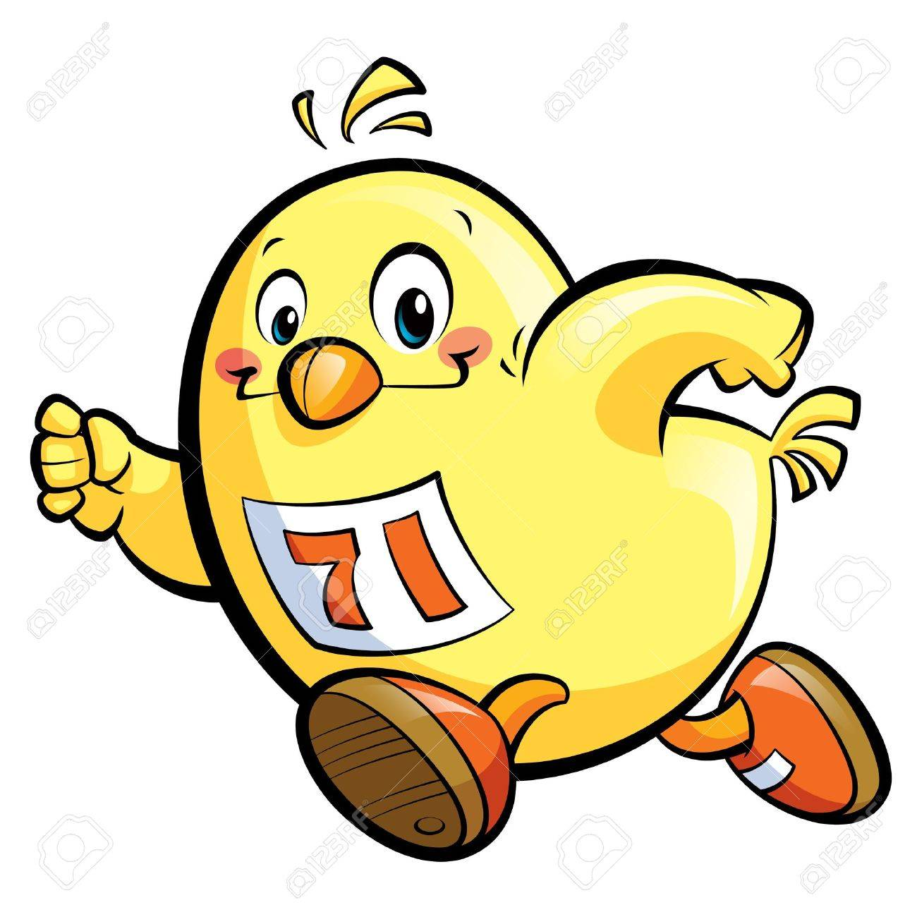 Pollo Amarillo Lindo De Dibujos Animados Corriendo Rápido Fotos ...
