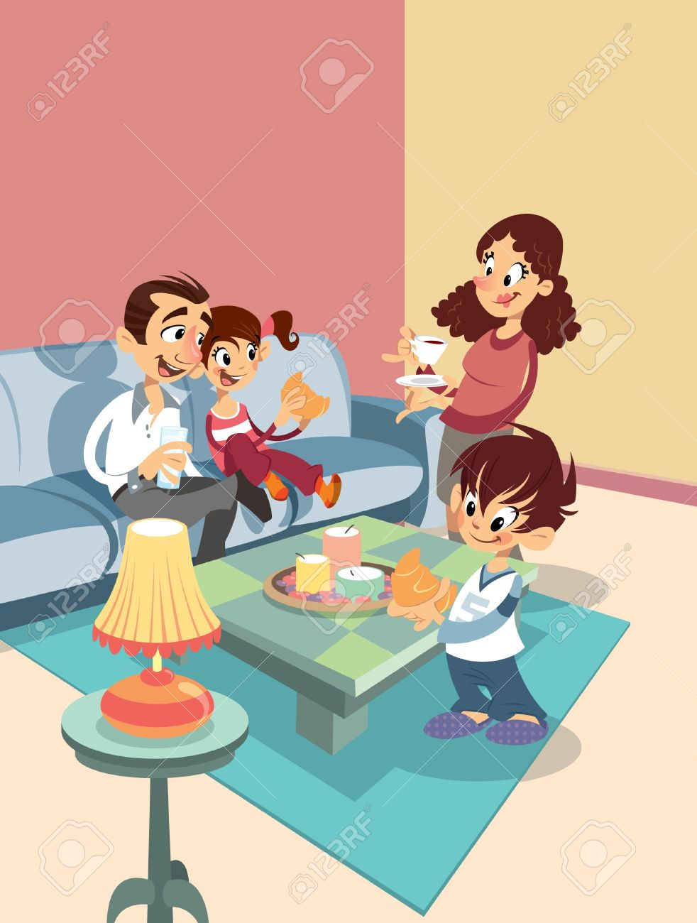 Cartoon Happy Family At The Living Room Stock Vector