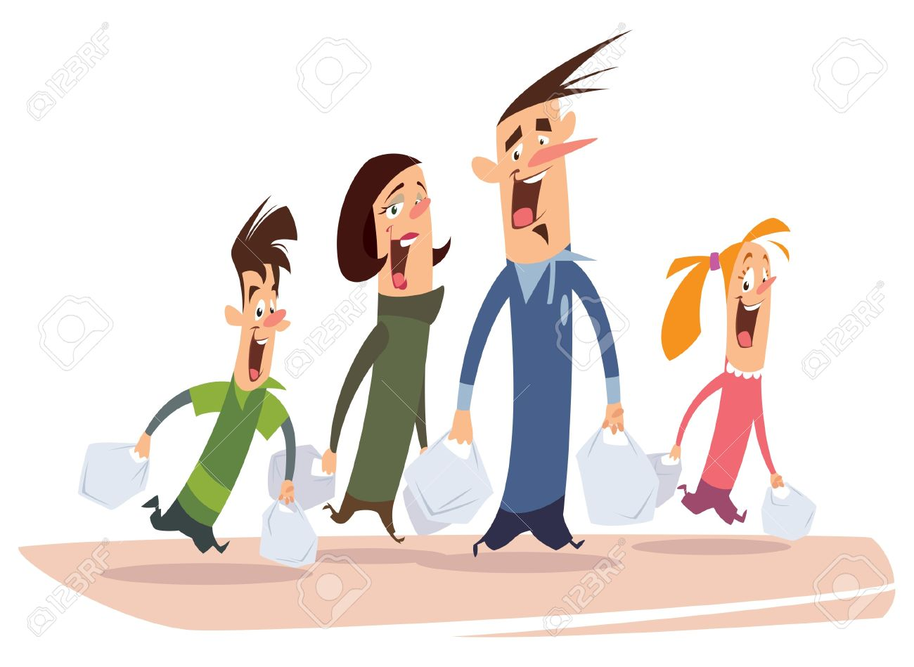Vettoriale una famiglia felice cartone animato con mamma papà