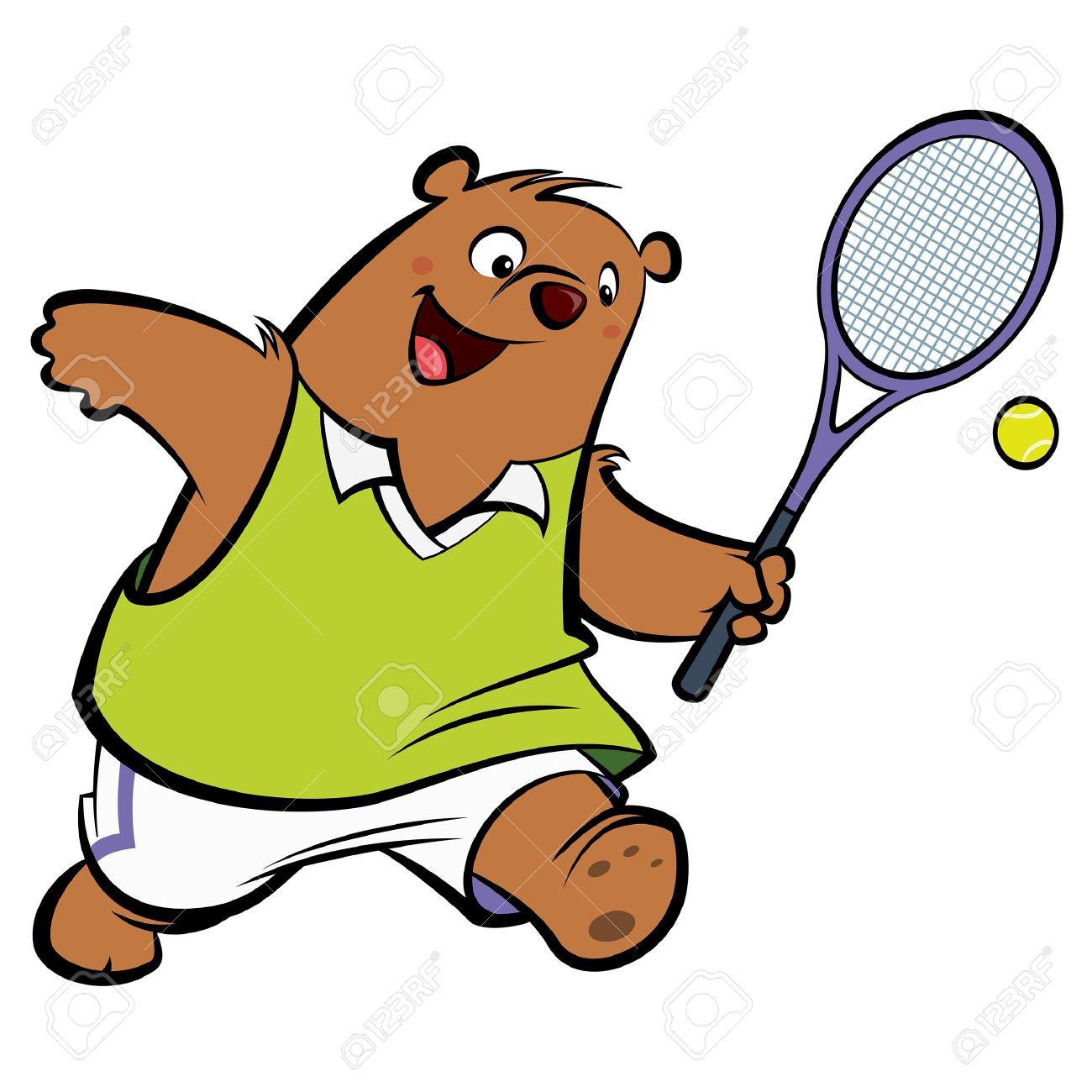 Tennis ball mascot stock photos tennis ball mascot stock photography - Racket Mascot Cartoon Bear With Athletic Suit Playing Tennis Wearing Sport Clothes Stock Photo