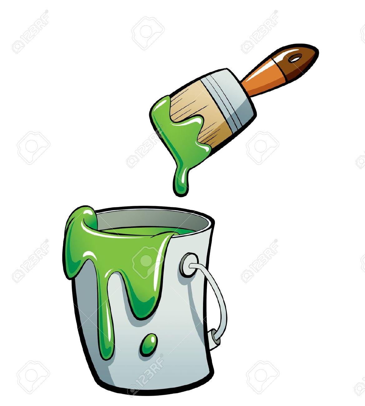 Cartoon Grünen Farbe Malen In Einem Grauen Farbeimer Malen Mit