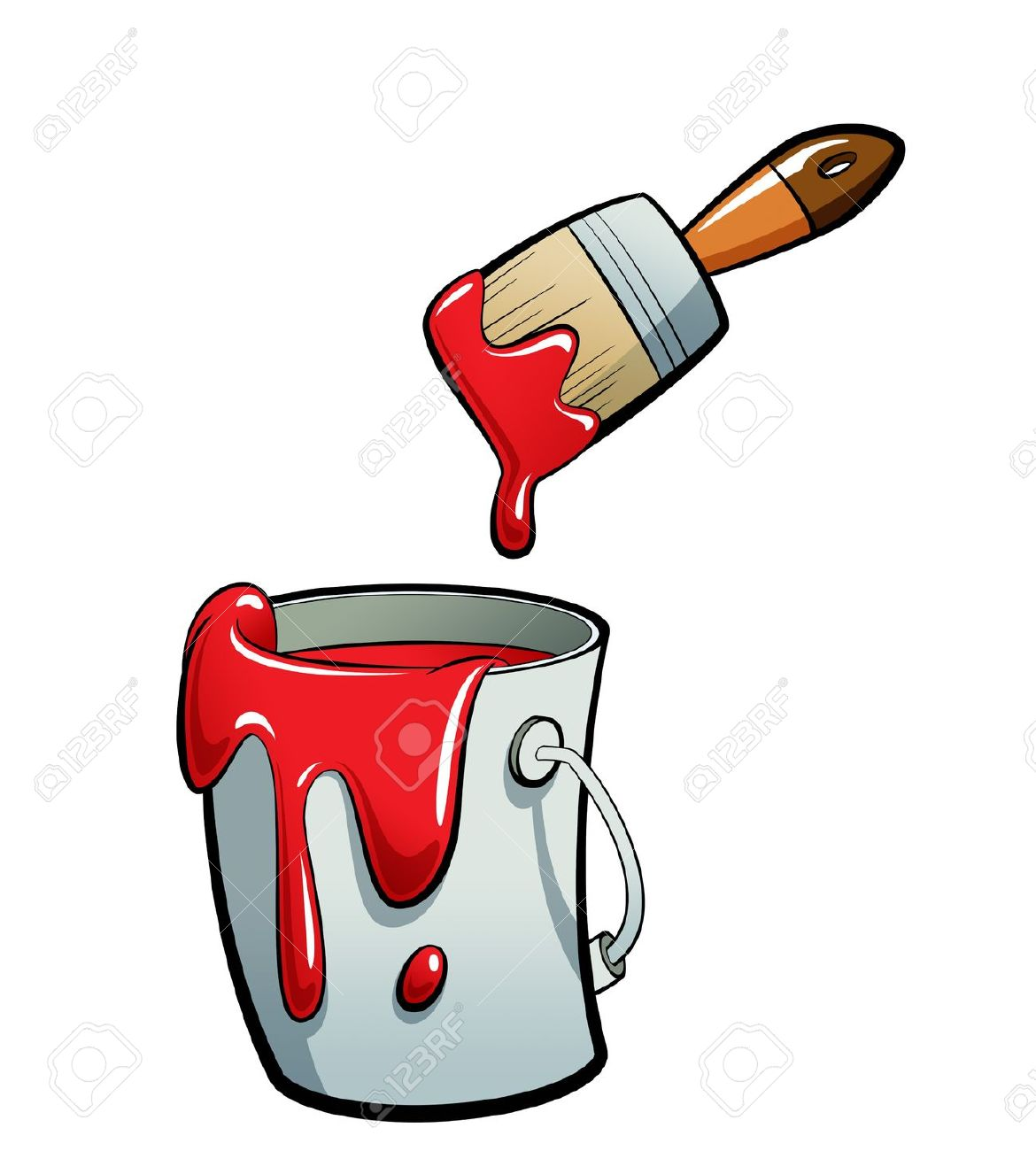 Cartoon Red Color Paint In A Grey Paint Bucket Painting With