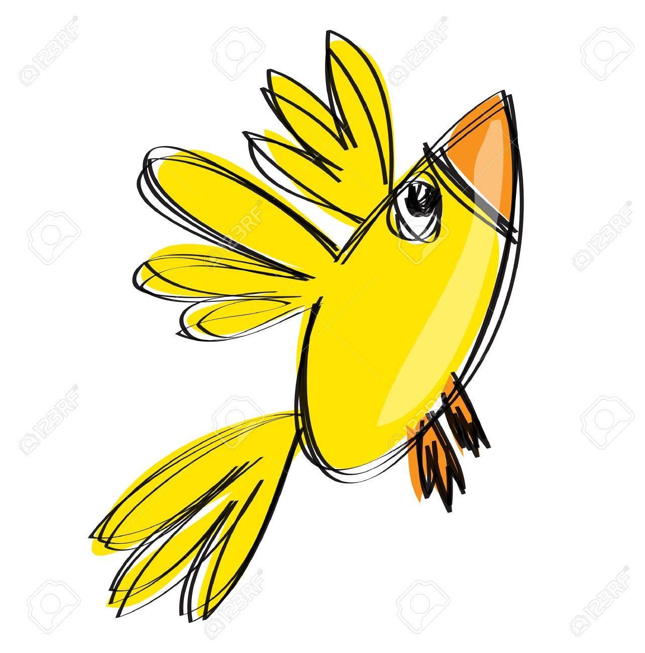 Cartoon Bébé Jaune Oiseau Qui Vole Dans Un Style De Dessin Enfantin Naif