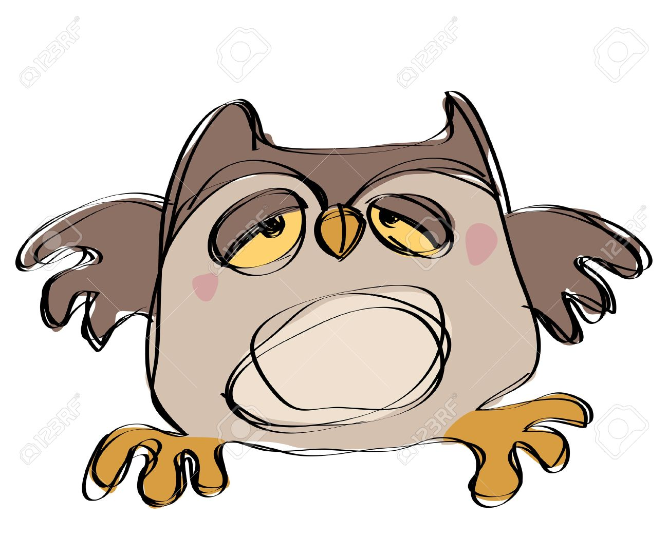 Uncategorized Baby Owl Drawing cartoon brown baby owl in a naif childish drawing style looking sleepy stock vector 20560971