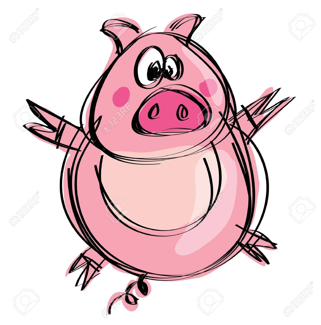 Cartoon Funny Naif Baby Pig In A Naif Childish Drawing Style Royalty Free Cliparts Vectors And Stock Illustration Image 20561041