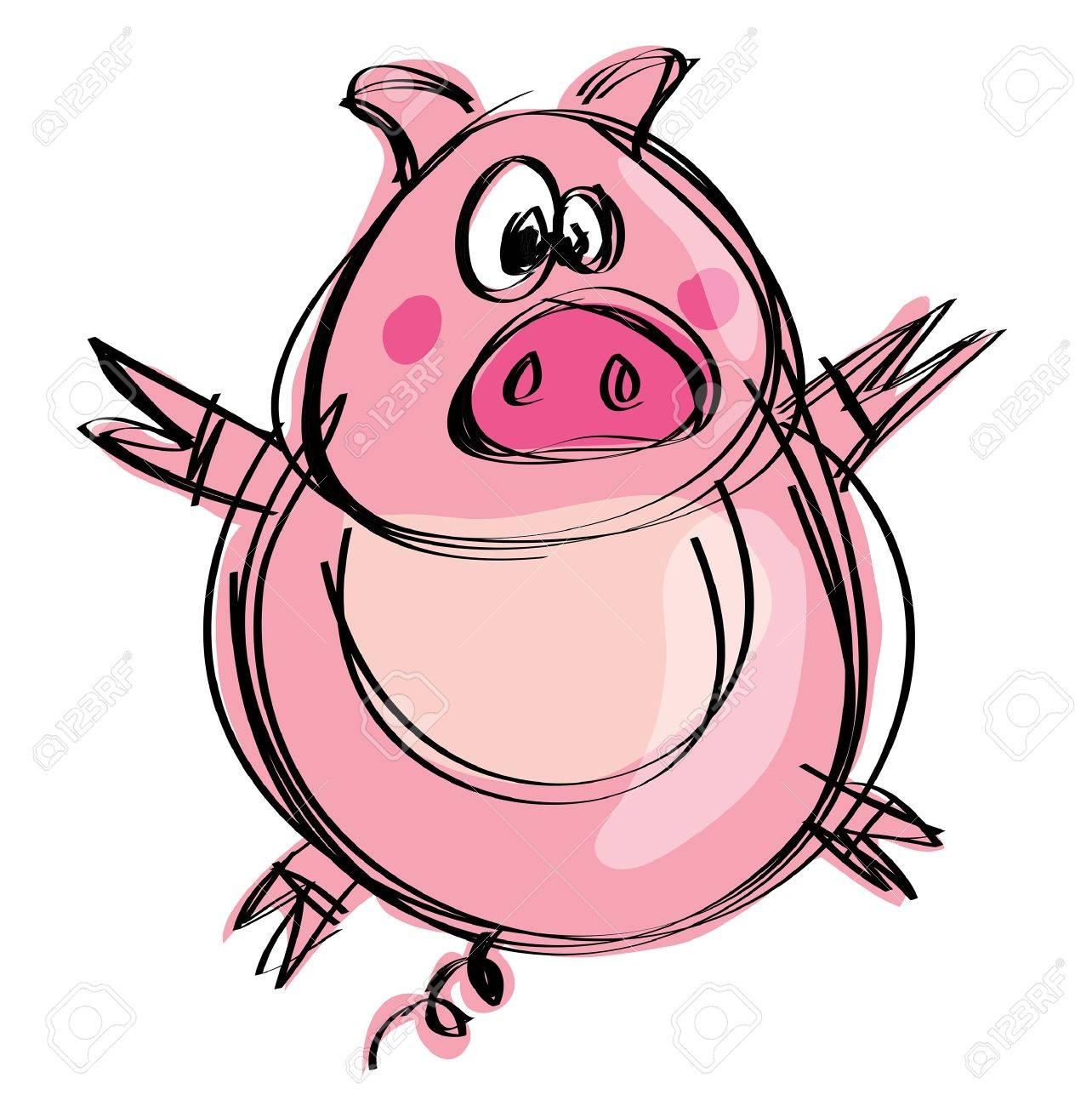 Cartoon Funny Naif Baby Pig In A Naif Childish Drawing Style Royalty Free Cliparts Vectors And Stock Illustration Image 20561041