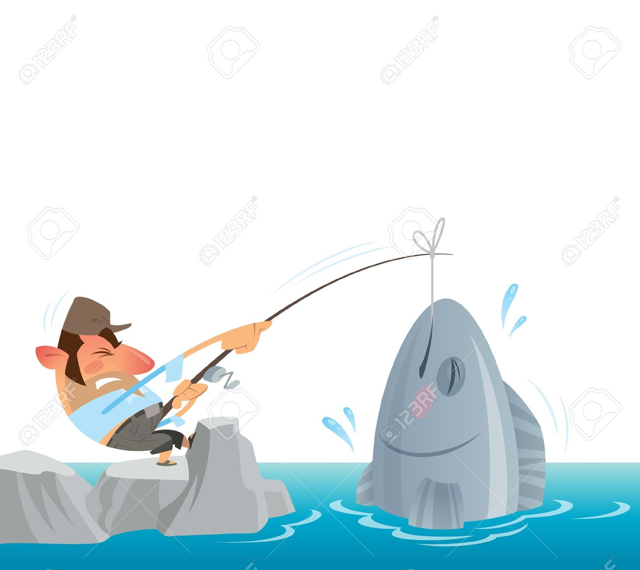 A fisher man fighting to get out of the sea a big fish Stock Vector - 20560982