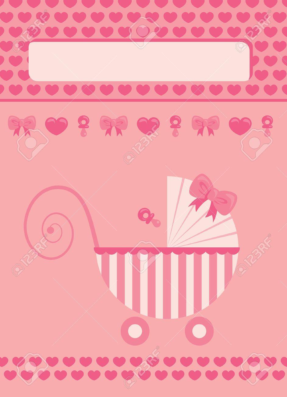 New Born Baby Girl Pink Greeting Card Royalty Free Cliparts Vectors