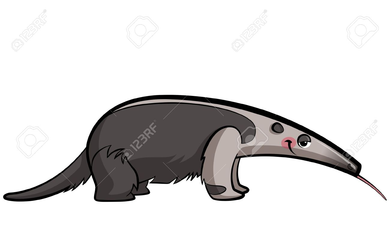 cartoon anteater animal eating sticking out its tongue royalty free rh 123rf com