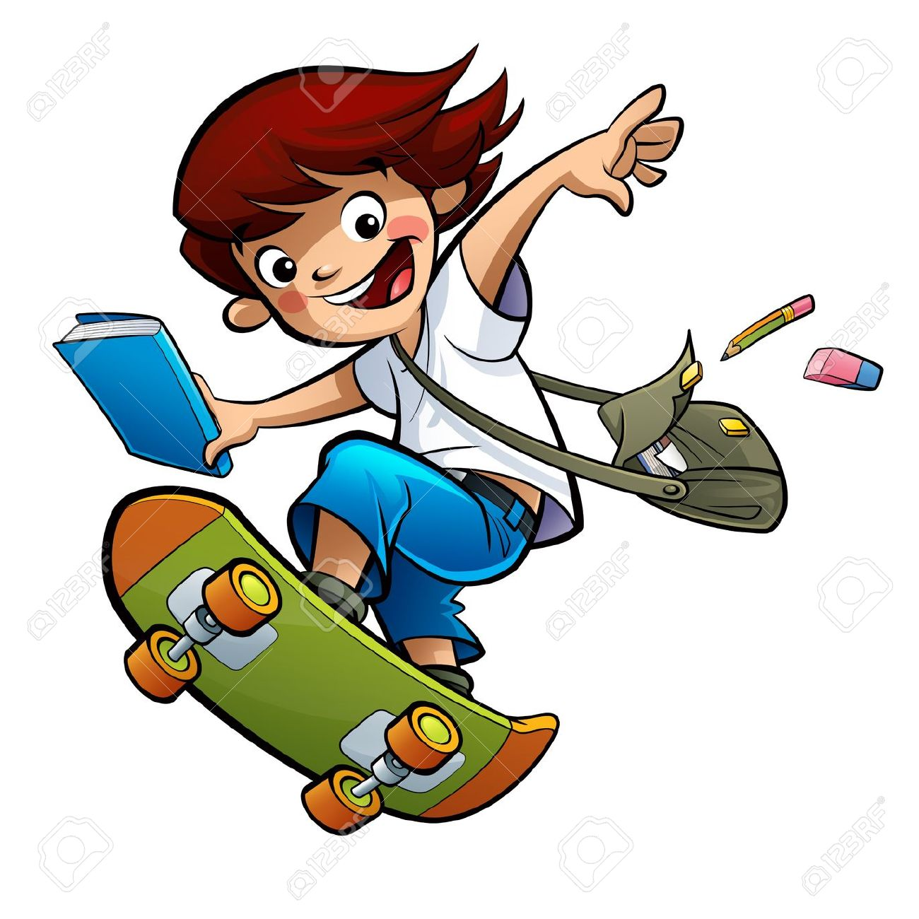 Excited happy smiling pupil boy going to school skating fast jumping high Stock Photo - 21976645