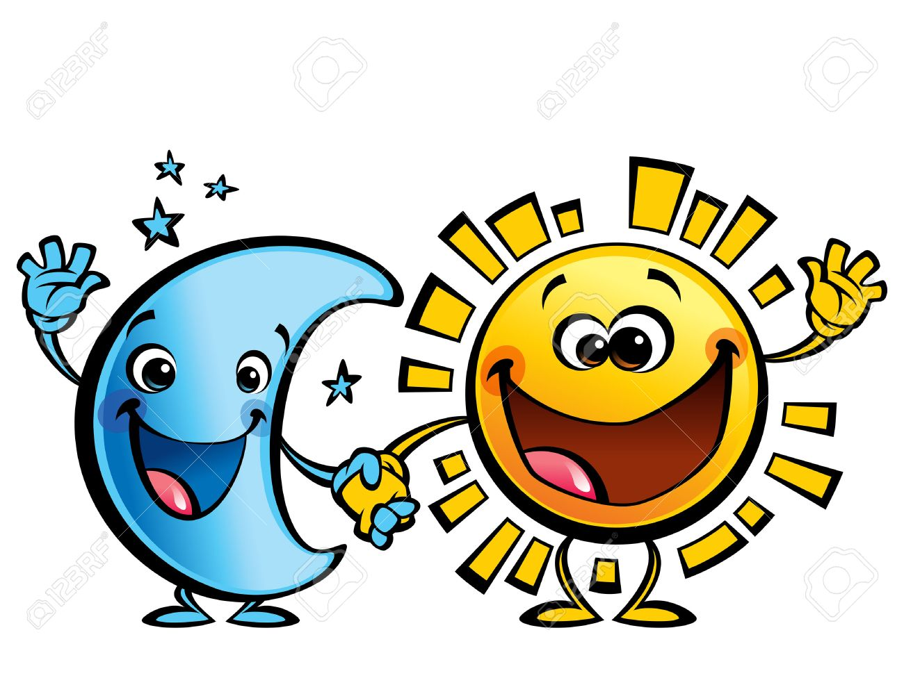 shining yellow smiling sun and blue moon cartoon characters a