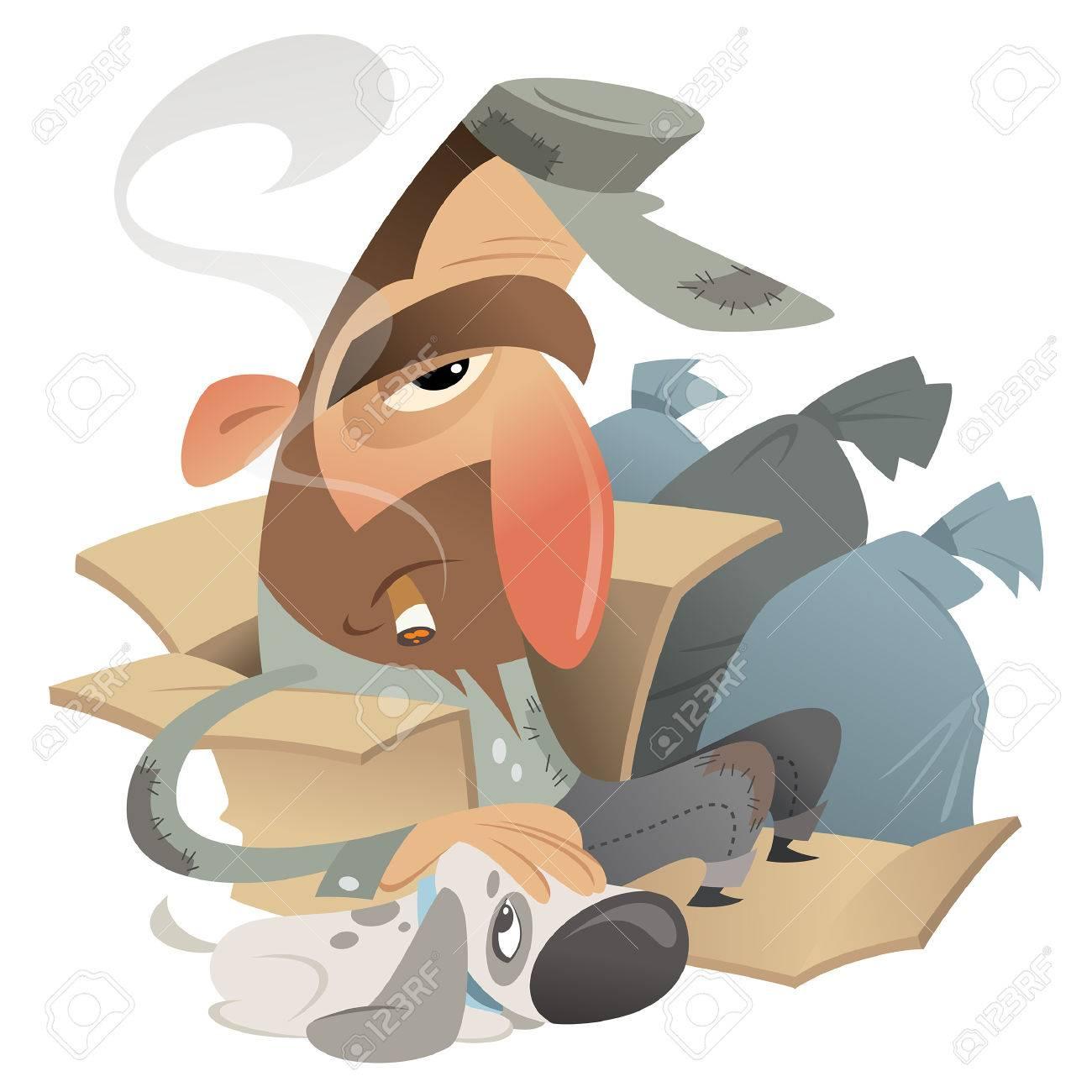 Cartoon homeless man with his dog friend sitting in a carton near trash bags - 26081498