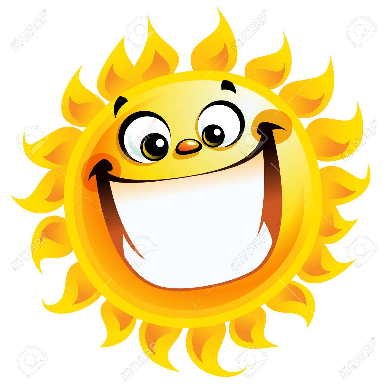 Smiling sun images - Shining Yellow Excited Smiling Sun Cartoon Character As Good Weather Sign Temperature Stock Vector 29455685