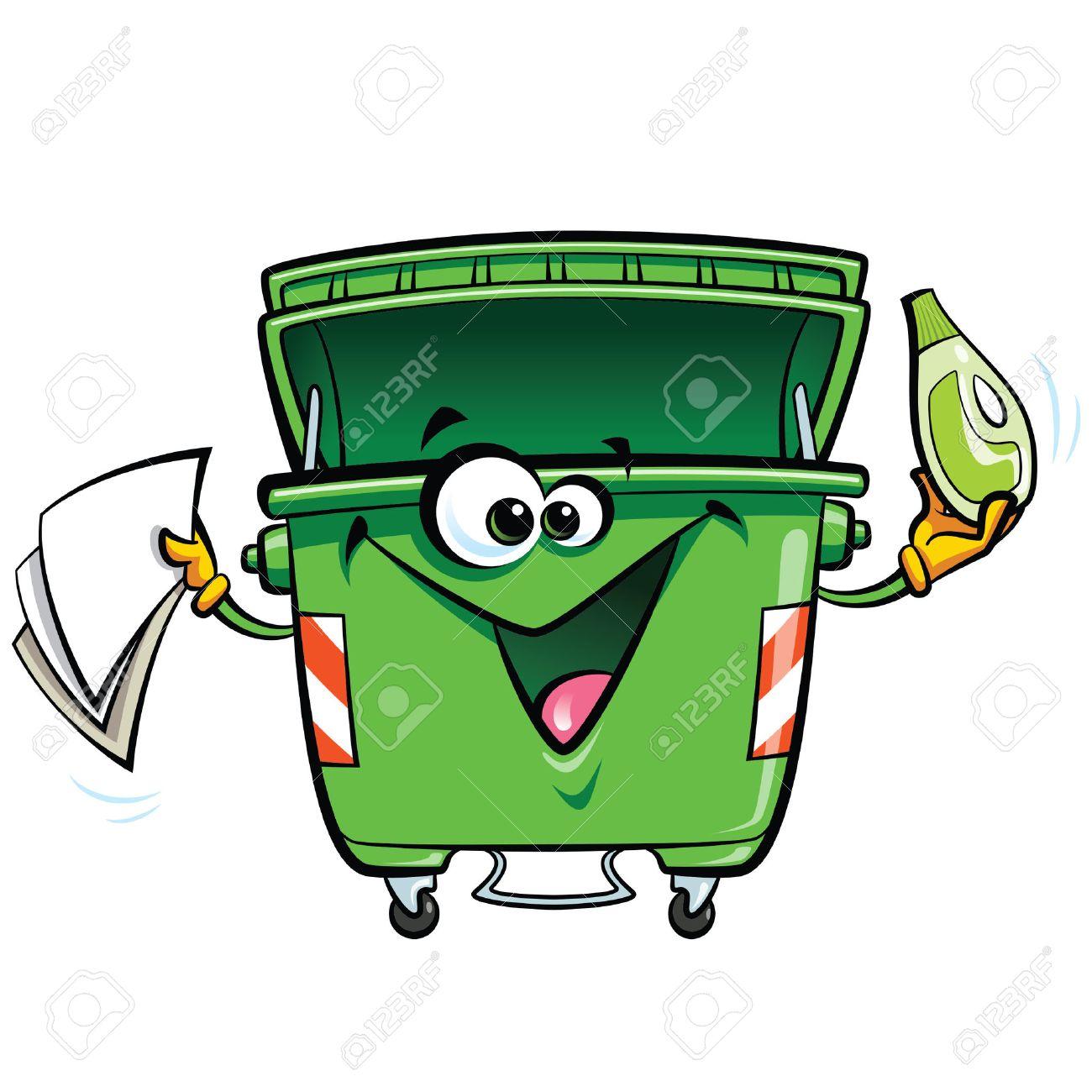 papelera de reciclaje feliz sonriente de la historieta de la basura bin carcter reutilizar