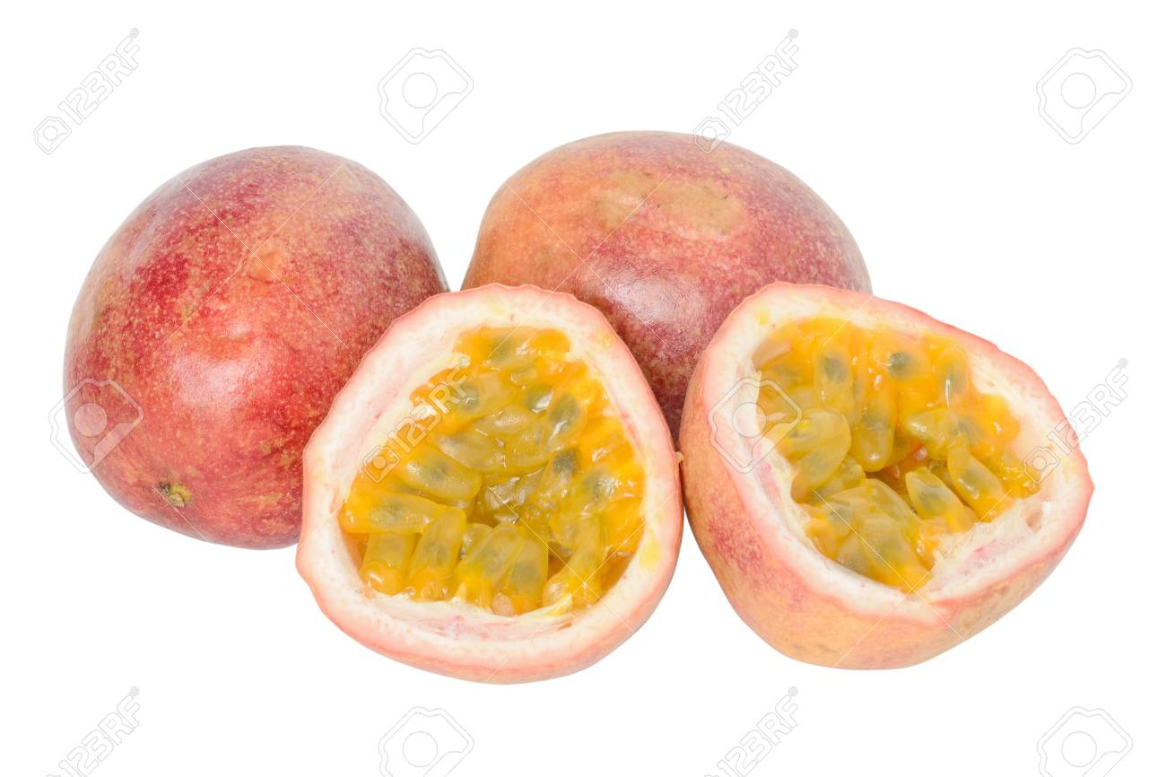 Passion fruits on a white background Stock Photo - 14568075
