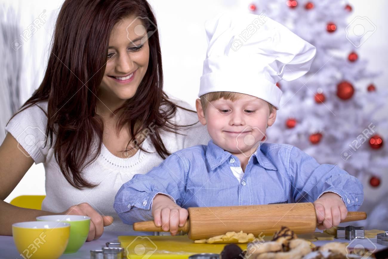 family making xmas cookies at home Stock Photo - 8723418