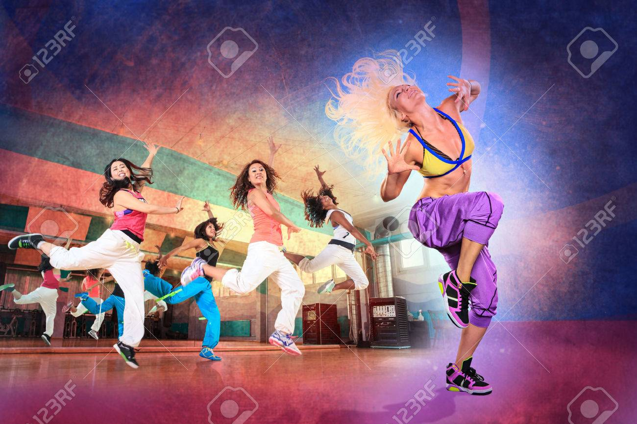 young women at aerobics or fitness training - 44841141