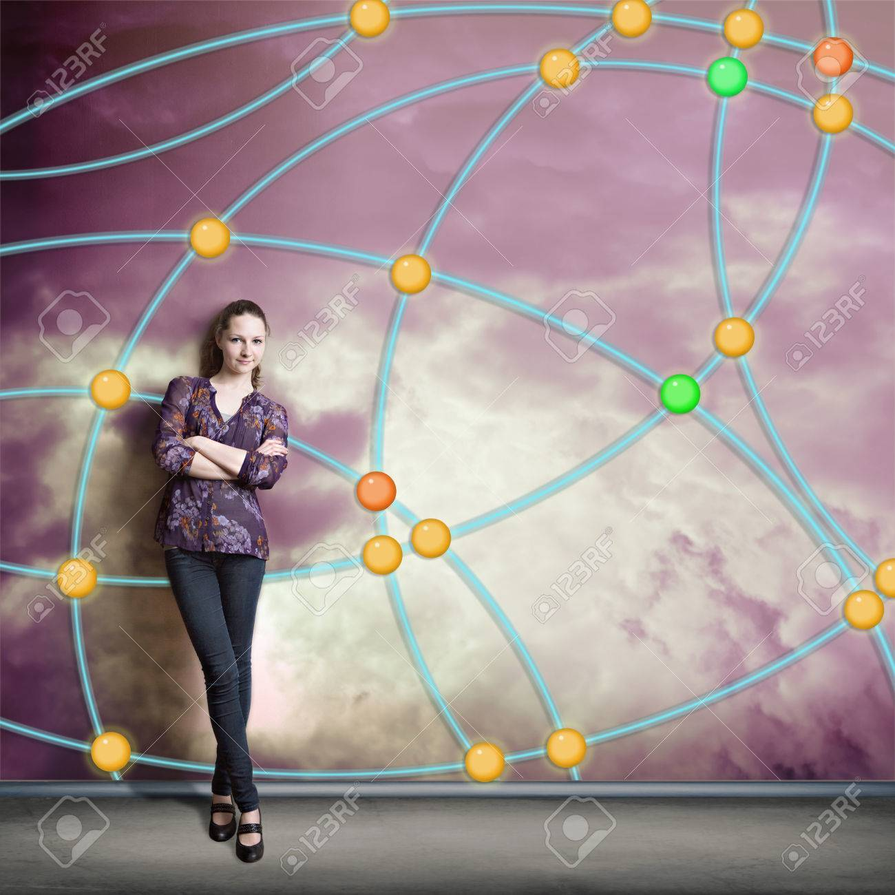 A Young Woman At Wall With Social Network Schematic Diagram Stock Photo 47693296