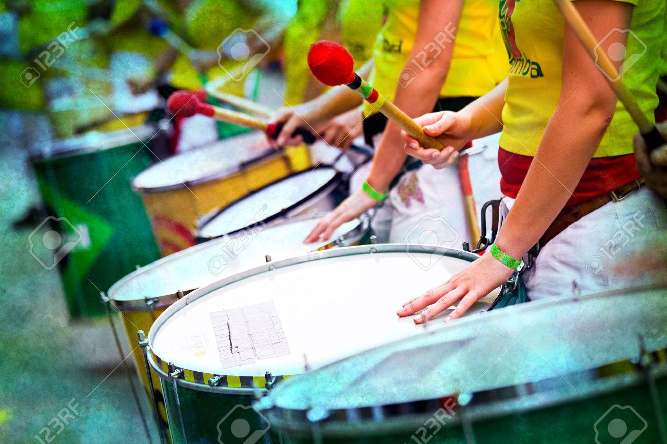 Scenes of Samba carnival with drum group - 53978997