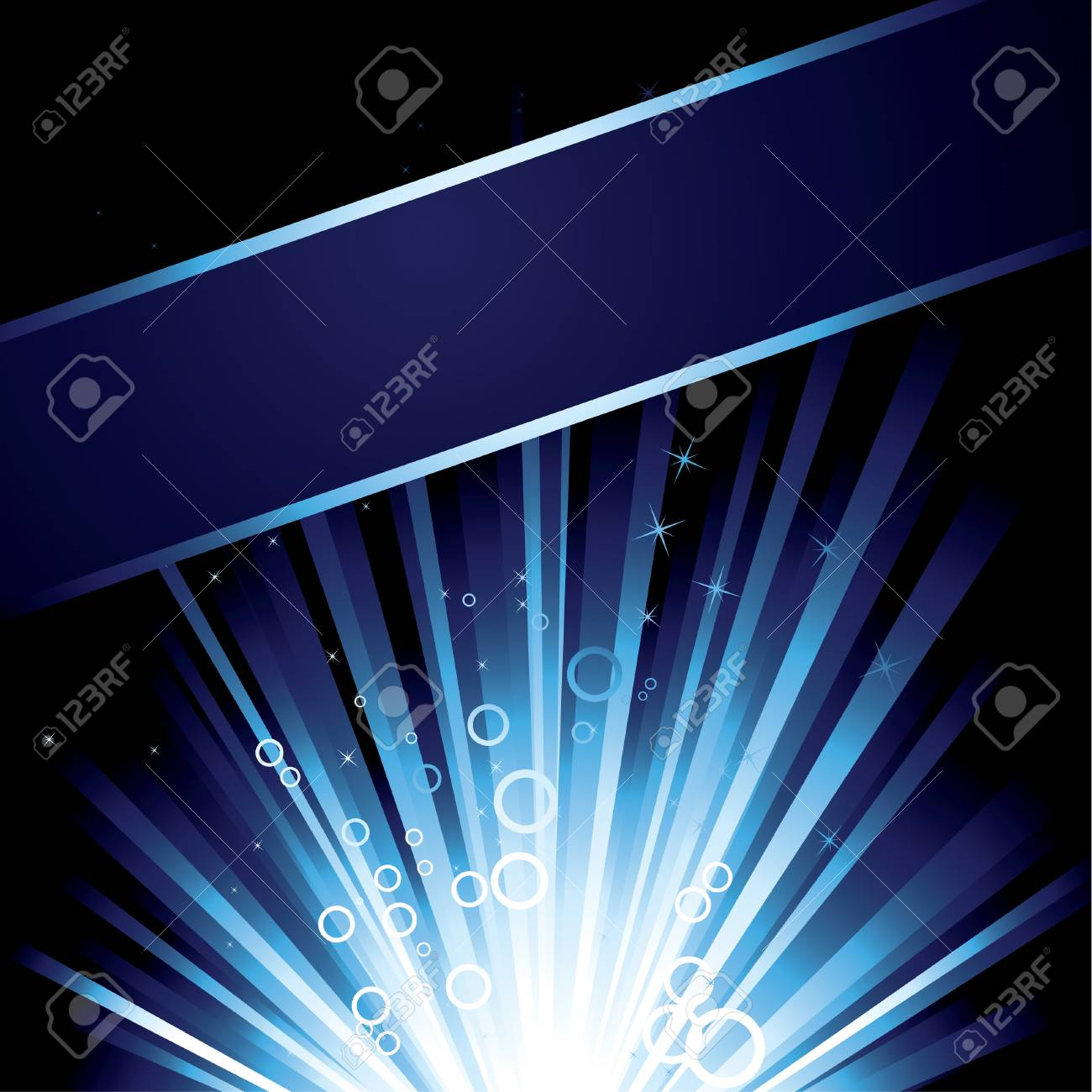 Detailed illustration with a blue burst with stars for text Stock Vector - 4704913