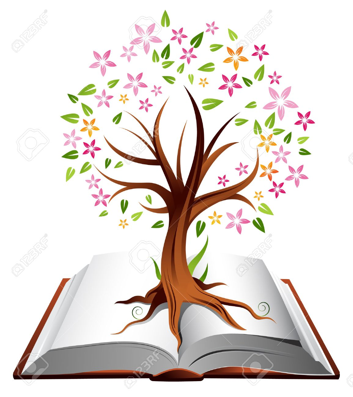 Illustration of a tree with coloured leaves growing out of an open book Stock Vector - 4704893