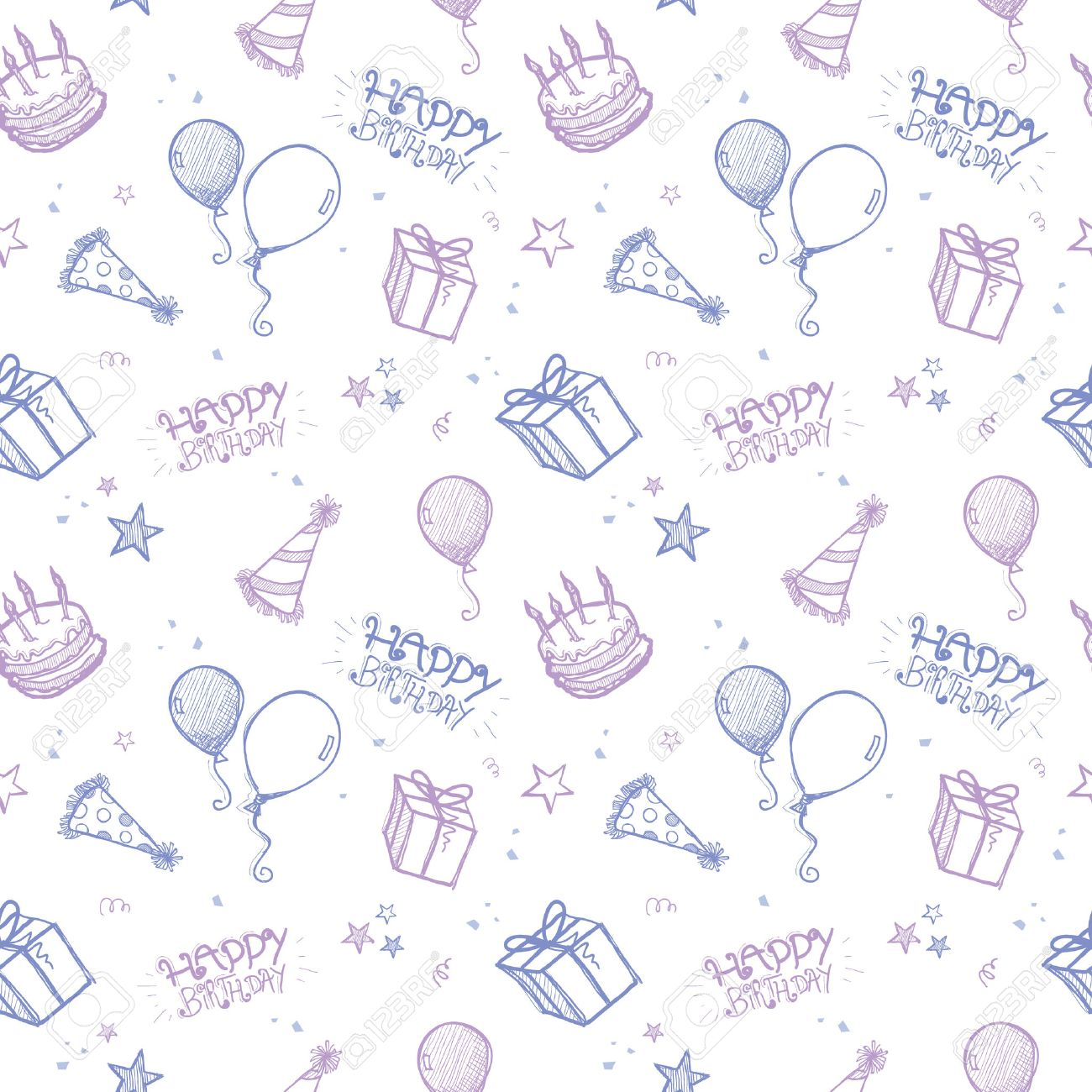 A Seamless Hand Drawn Vector Background Birthday Theme Royalty