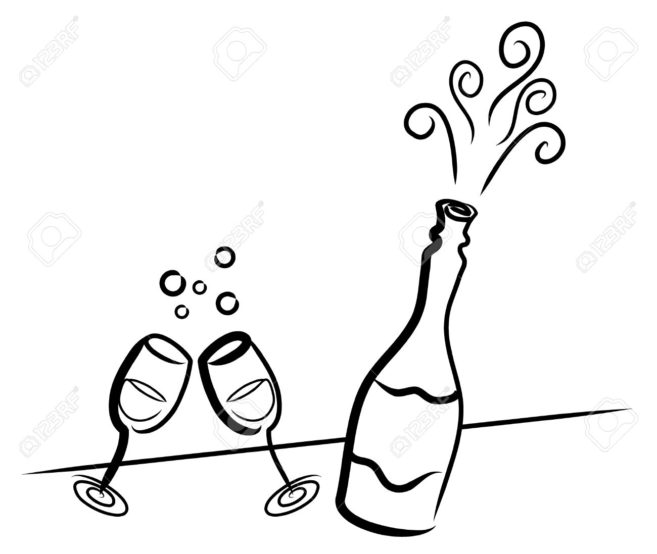 simple drawing of a bottle of champagne and two glasses royalty free