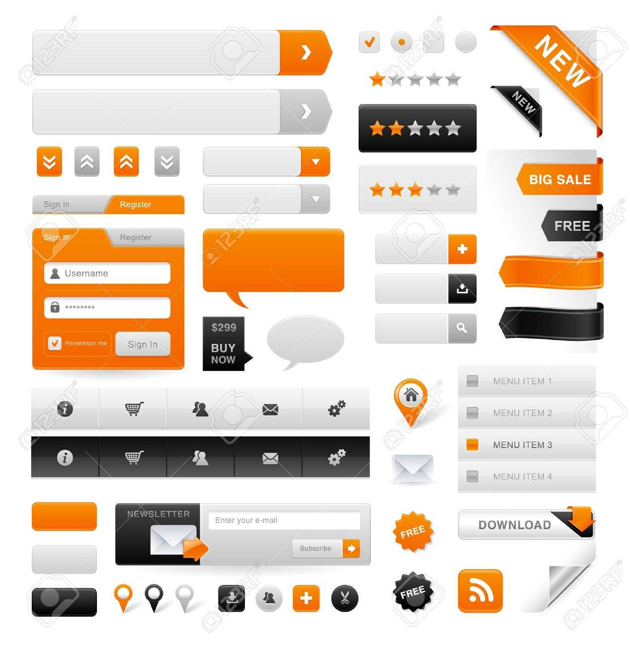 Large set of icons, buttons and menus for websites Stock Vector - 11646321