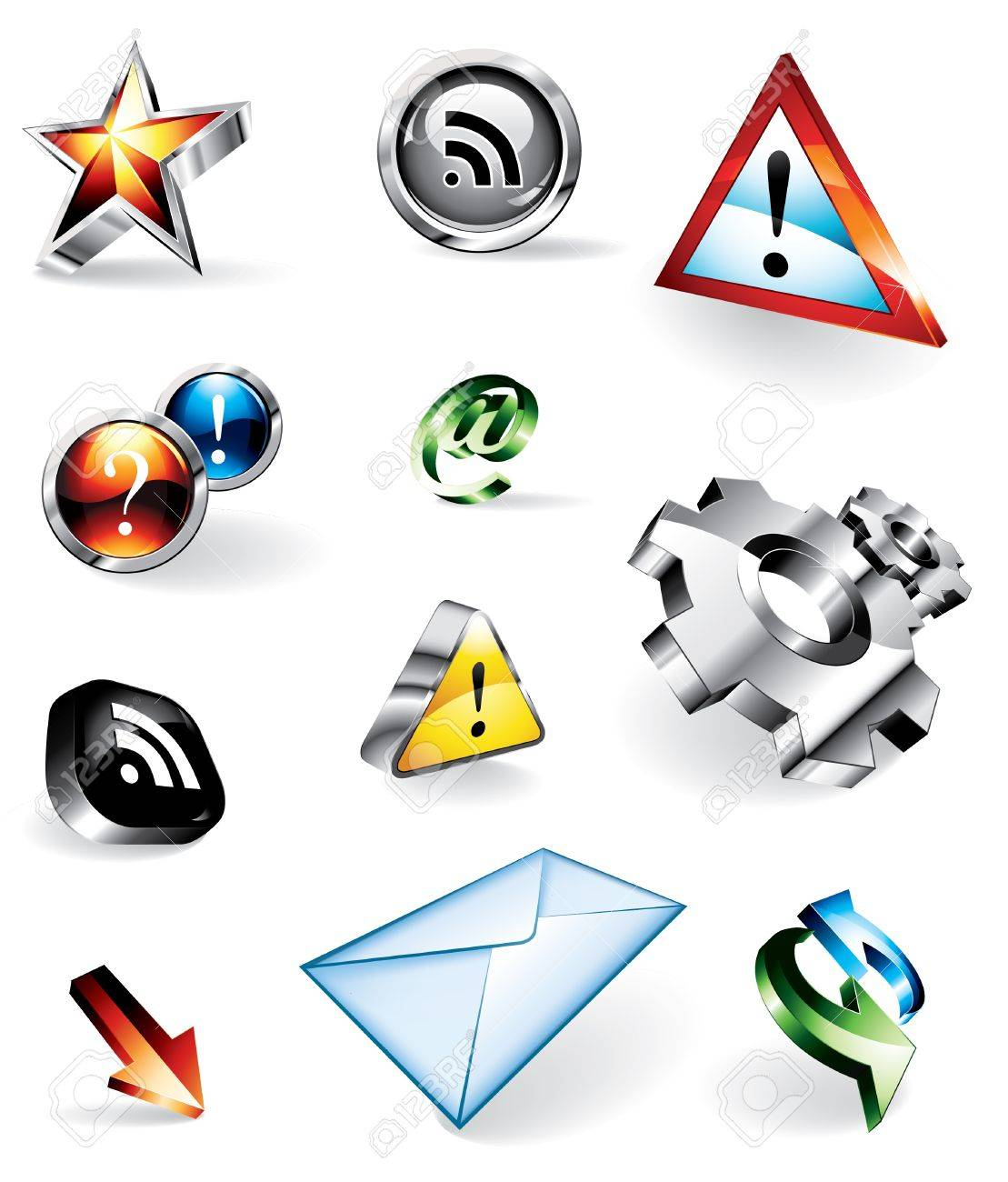 Set of 11 shiny vector icons for websites: RSS feed, contact, warnings, FAQ, refresh, add as favourite Stock Vector - 11646345