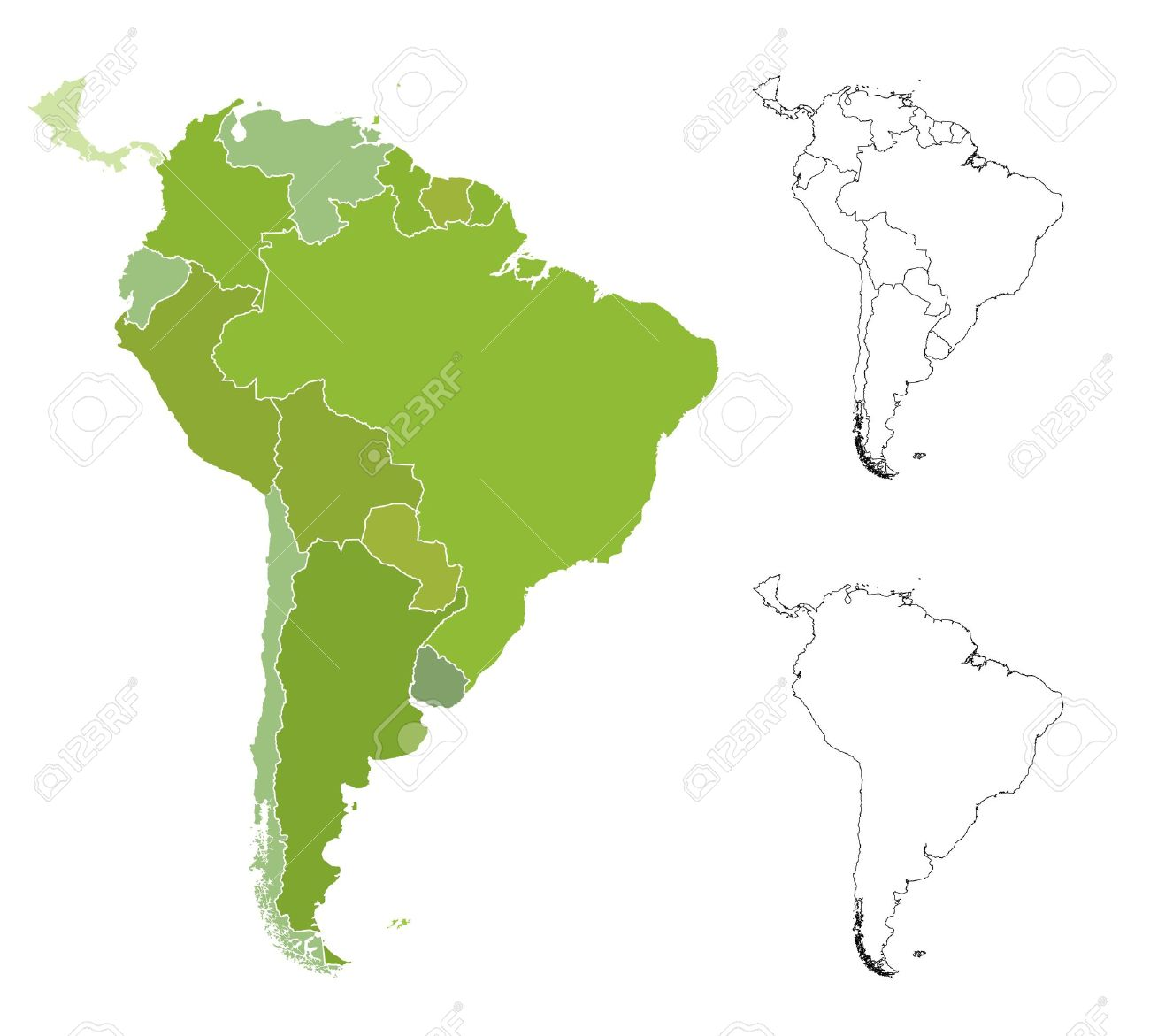 highly detailed map of the south american countries royalty free