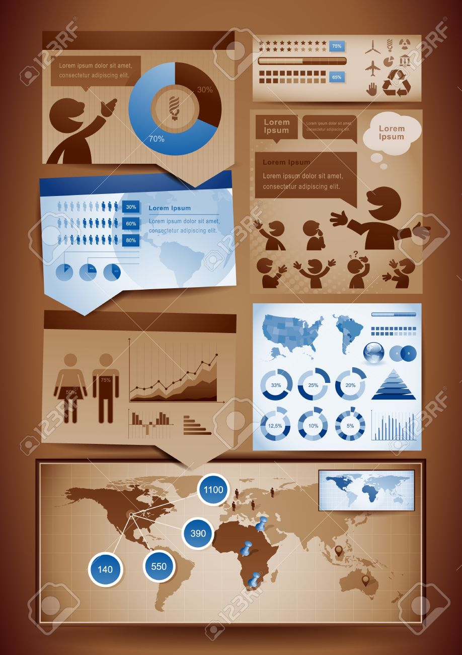 Vector set of brown and blue themed infographics design elements. Stock Vector - 12806954