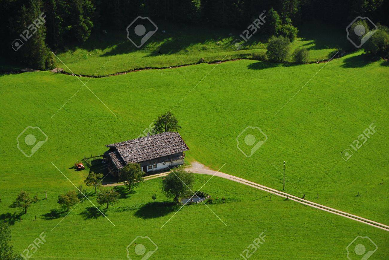 house in nature with plenty of green grass and forest Stock Photo - 9575805