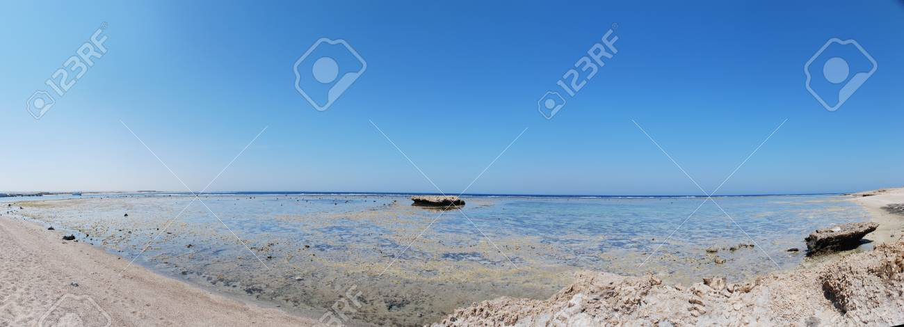 View On The Beach At Low Tide In Egypt Red Sea Panorama Stock Photo Picture And Royalty Free Image Image 12758626