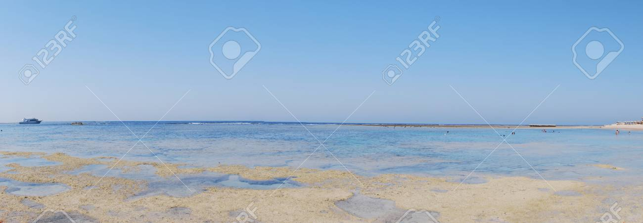 beach at low tide in the panoramic view in summer holiday Stock Photo - 12842267