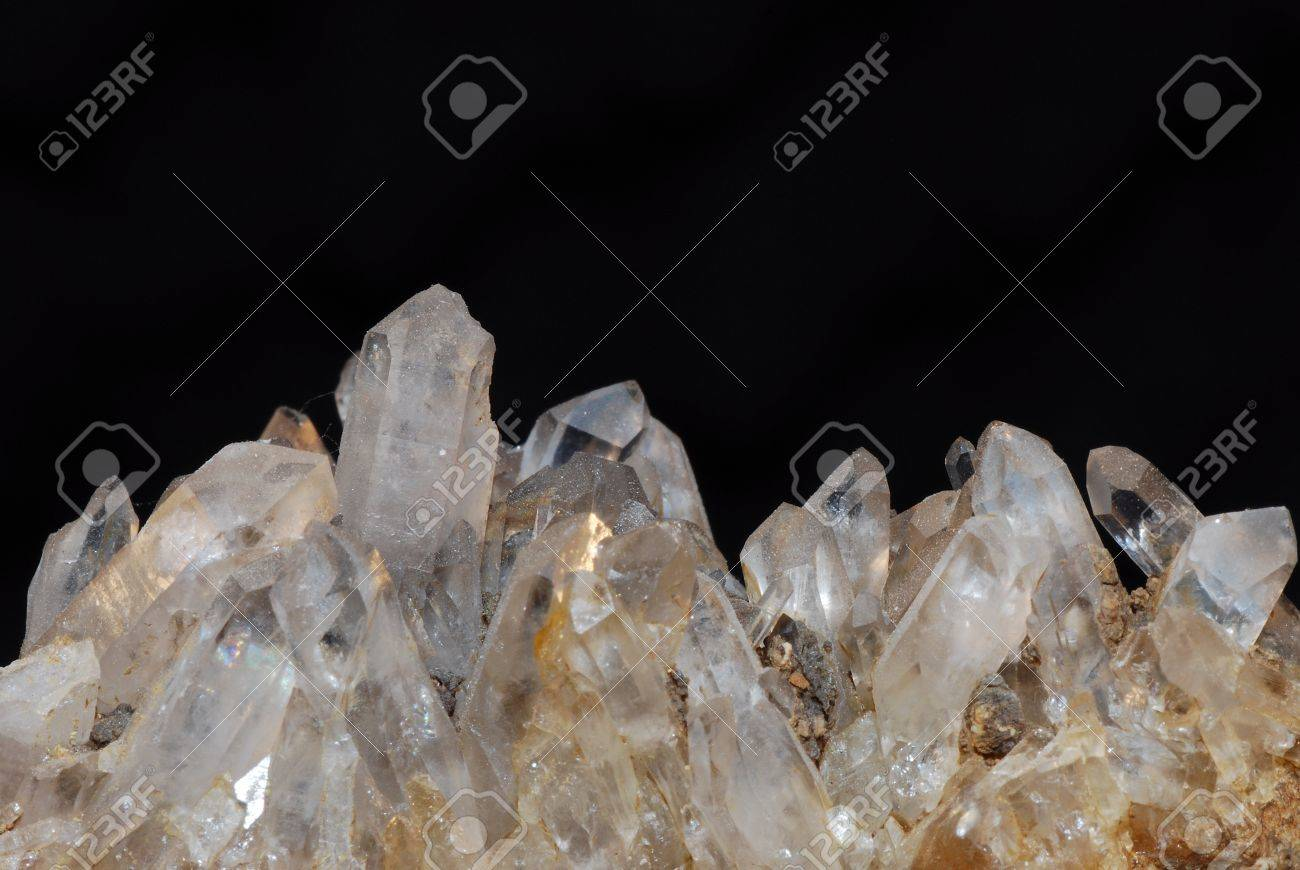 rock minerals transparent rock crystal with small pointed Stock Photo - 13119797