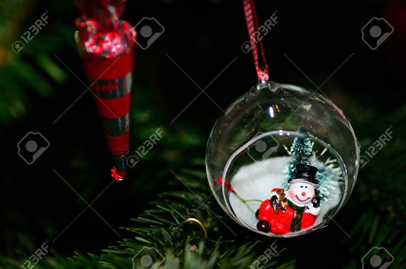 Small Snowman In Ball On A Christmas Tree Stock Photo Picture And Royalty Free Image Image 25623429