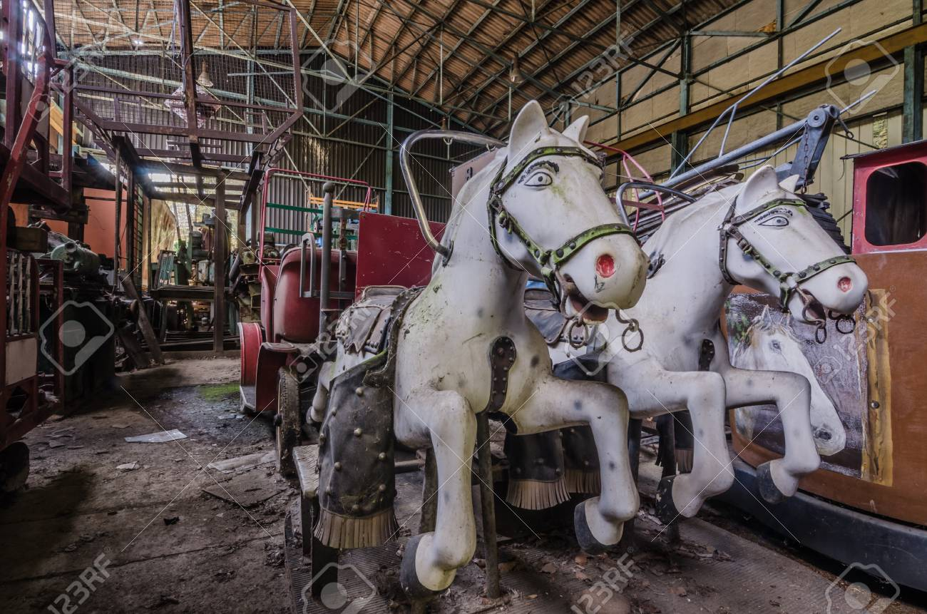Horses Of Amusement Park In Abandoned Hall Stock Photo Picture And Royalty Free Image Image 74037194