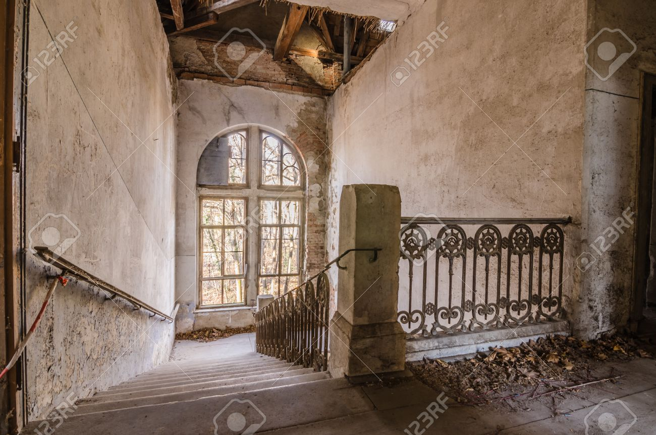 Staircase With Railing In Old Mansion Stock Photo   78038104