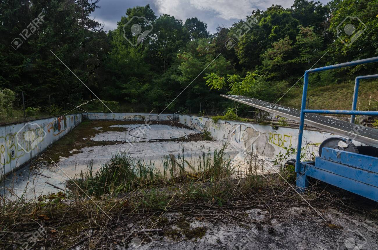 Abandoned Empty Swimming Pool In A Forest Stock Photo Picture And Royalty Free Image Image 124549643