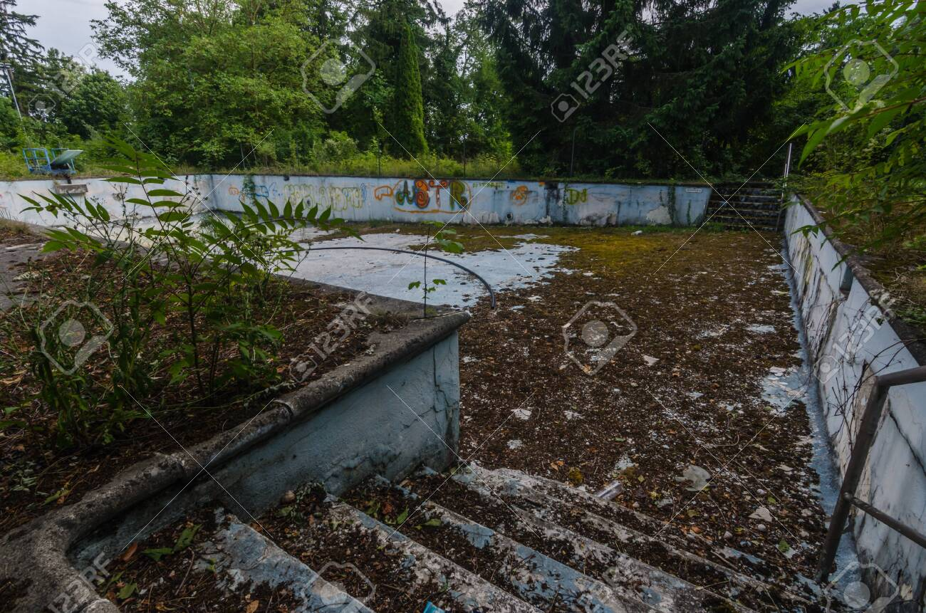 Abandoned Old Empty Swimming Pool Stock Photo Picture And Royalty Free Image Image 124549644